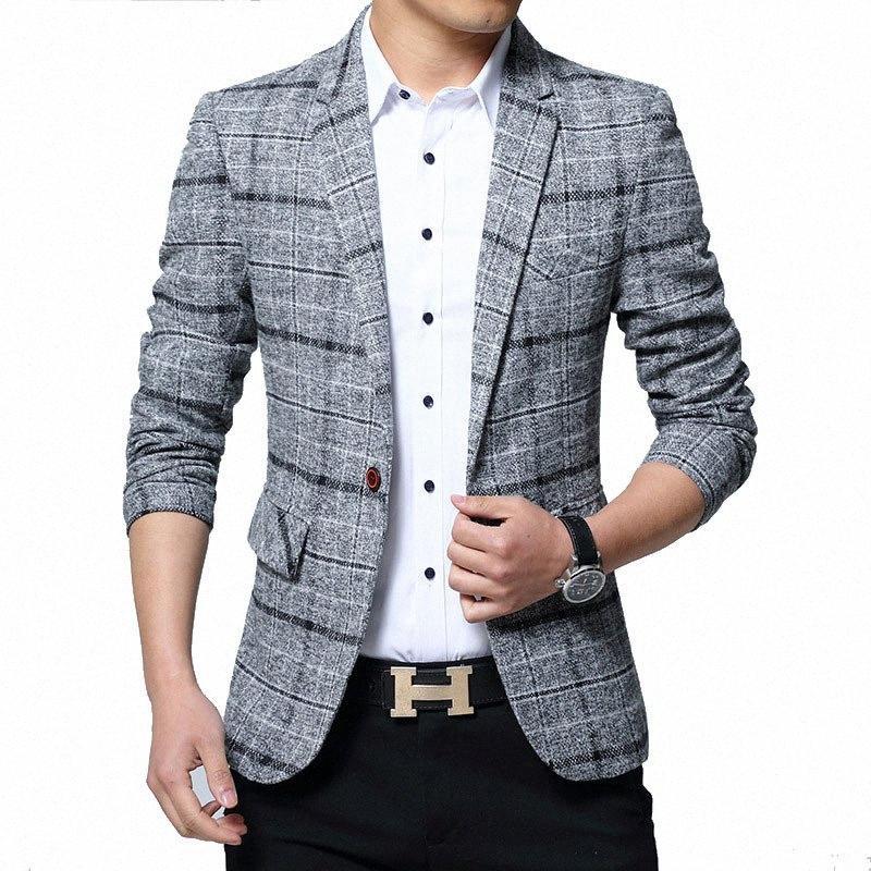 Yeni Erkekler Blazers 4XL 5XL Bahar İngiliz Stil Ekose Erkek İnce Yağ İş Casual Blazer Ceket Erkekler Marka Dış Giyim Ceket BY603 Y200107 M6mb #