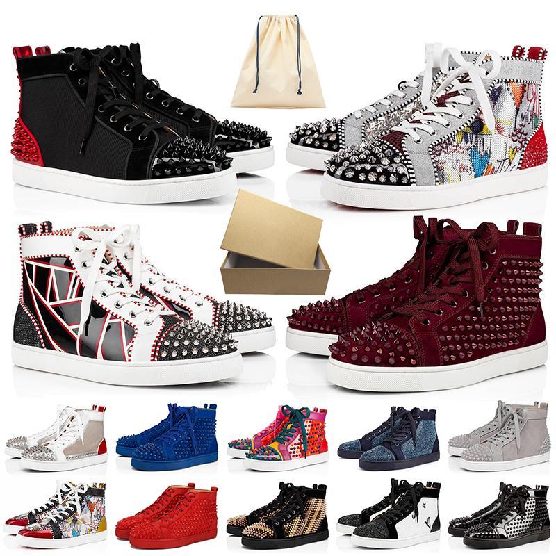 Kutu ile red bottoms luxurys brand designers shoes junior loafers büyük boy bize 13 lüks erkek ayakkabı tasarımcısı kadın rahat ayakkabılar sivri spor ayakkabı kırmızı alt