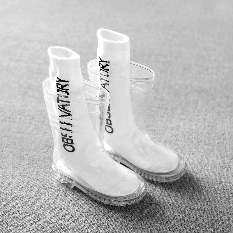 Çocuk Şeffaf Rainboots Su Geçirmez Erkek Ayakkabı Kızlar Için Çocuklar Çocuk Bebek Yürüyor Çocuk Yağmur Botları Kaymaz Moda