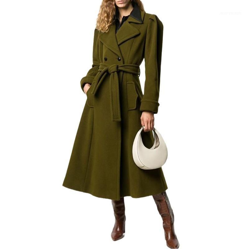 Frauen Wolle Lace Up Mantel Temperament Wollüberzug Doppelfreie BreastedP Wolljacke Lose Lange Frauen Wintermäntel 2020 NEU1