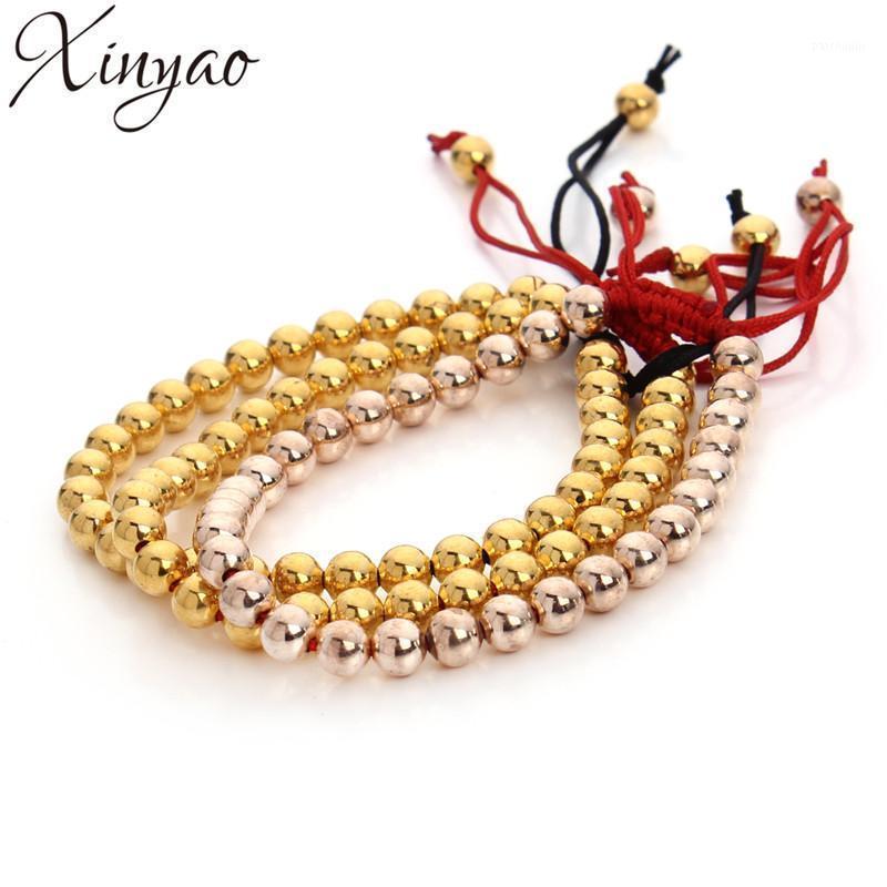 Xinyao Новое золото / розовое золото цветные медные круглые бусины браслеты браслеты с красным / черным веревками цепочки для женщин ювелирные изделия Love Tire1