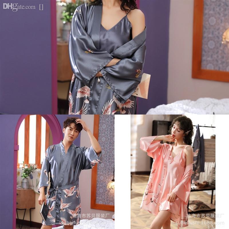 Joy Print Set Pajamas Sexy Pajamas атласная халат халат Шелковые цветочные брюки шорты белье халат ледяной шелк для PigiaMa Womne Femme GDNJ