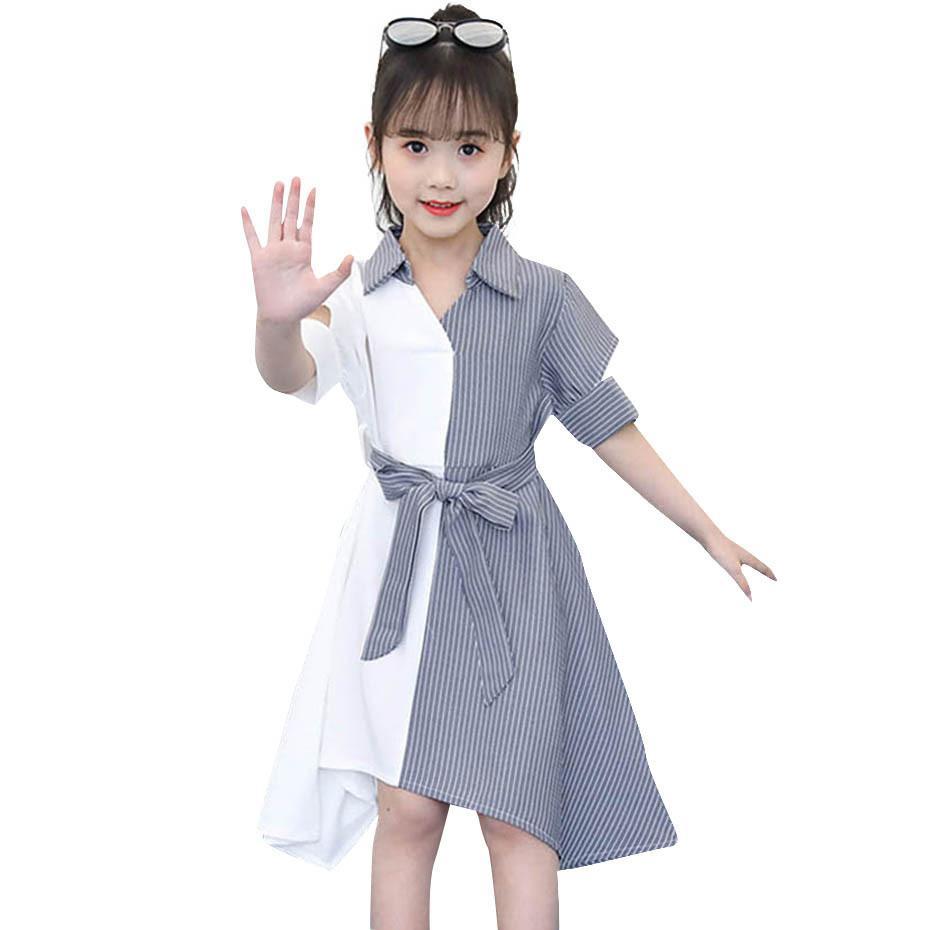 Girls Dress Abitare Abito da partito patchwork a strisce per ragazza abbassarsi con colletto per bambini vestito con cintura di prua costume di novità autunno per ragazze W1227