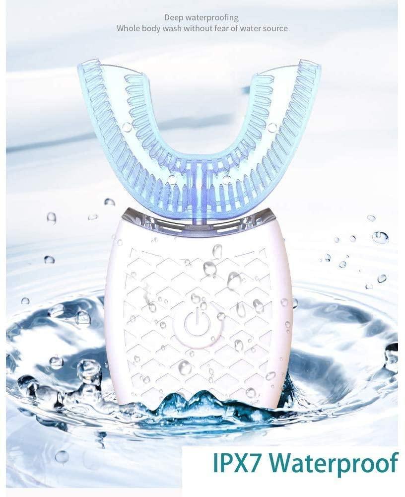Limpiador de dientes, cepillo de dientes eléctrico, limpieza automática, oral en forma de U 360 °, limpiador dental, blanqueamiento dental, 4 modos IPX7 opcionales, impermeable