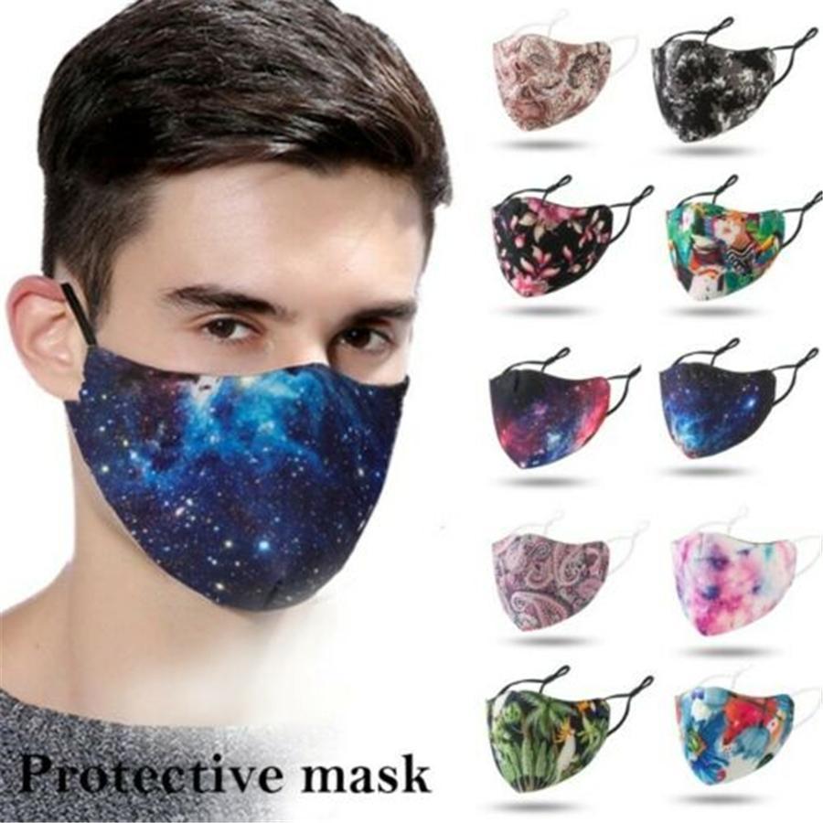 Réutilisable lavable respirante en néoprène Tissu Motif Imprimer Masque Couvrant Masques Designer Imprimé Coton antipoussière Visage Couverture extérieure Spo