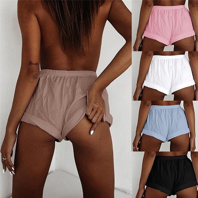 Frauen Sexy Shorts Fest mit hoher Taille Kurzschluss-beiläufige All-Gleiches Shorts Frauen Fitness Shorts Korte Broek Dames Pantaloncini Donna