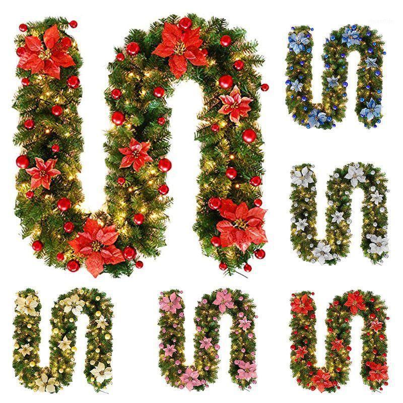 Faux Pine Rattan Flor Mini Fruta Bolas LED Luces de hadas Adorno Jardín Ornamento de Navidad Hogar Decoraciones al aire libre1
