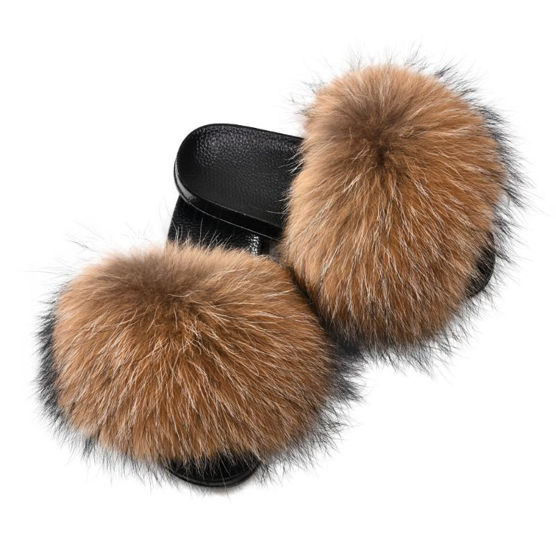 Women Fur Slides Summer Shoes Home Luxury Wide Fur Furry Slippers Indoor Female Sandals Fluffy Cute Real Raccoon Slides