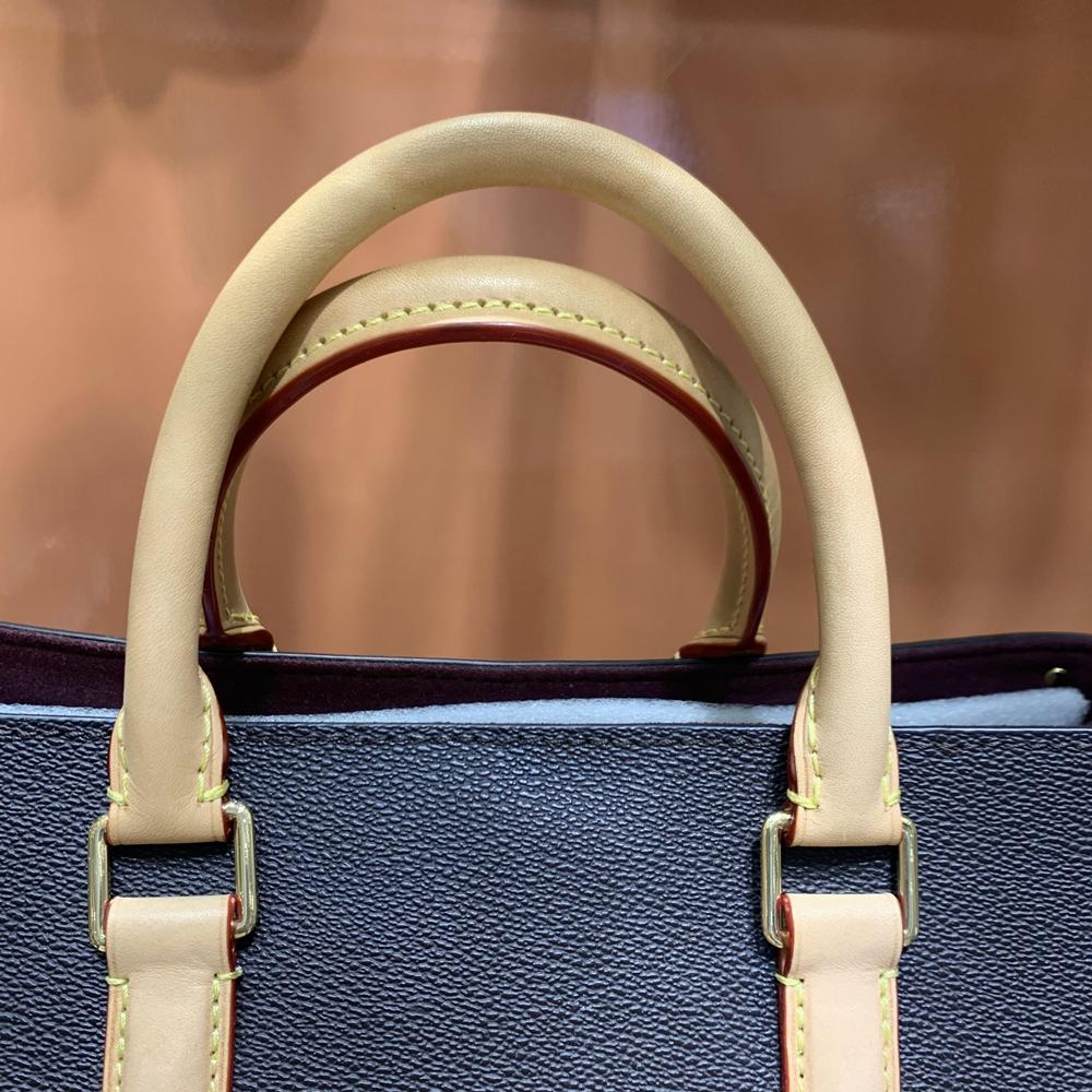 5A + MM M44816 M44817 Lona de lujo Cuero Tamaño de cuero Diseñador de impresión Mujer Bolsa de hombro Calidad Bolso Espejo Abrir Ruatb