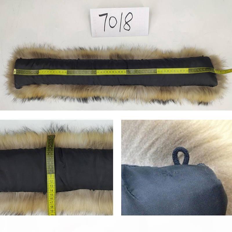 100% véritable collier de fourrure naturelle Grand Raccoon Fur Furf 50cm 70cm Winter Mâteau Homme Mâteau Mâle Parka Campots à capuche Fauves Femmes DIY # 24