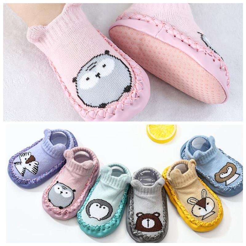 Весна осень детские напольные носки обувь мода детские носки с резиновыми подошвами младенческий носок новорожденный антискользящий мягкий подошвой носок Y201001