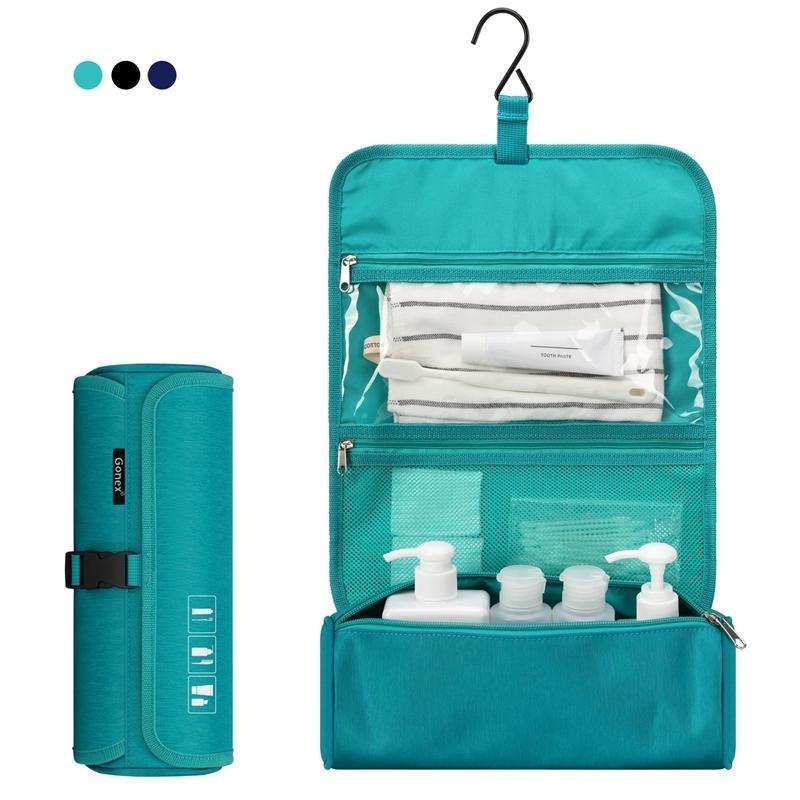 Sac de toilette de Voyage de bouteilles de geex, organisateur cosmétique suspendu sac de maquillage étanche avec crochet intégré Y200714