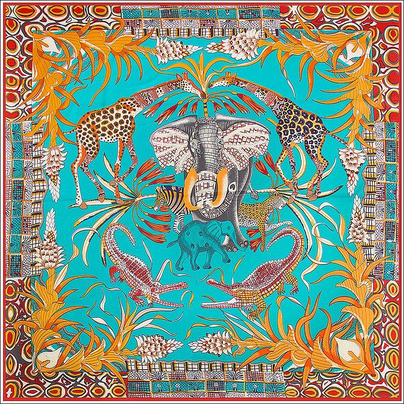 Écharpe à col en soie enveloppe les femmes éléphant Girafe Poncho Foulard Foulard Fleur Joker Grands Écharpes de soie Polyatile Accessoire 130cm