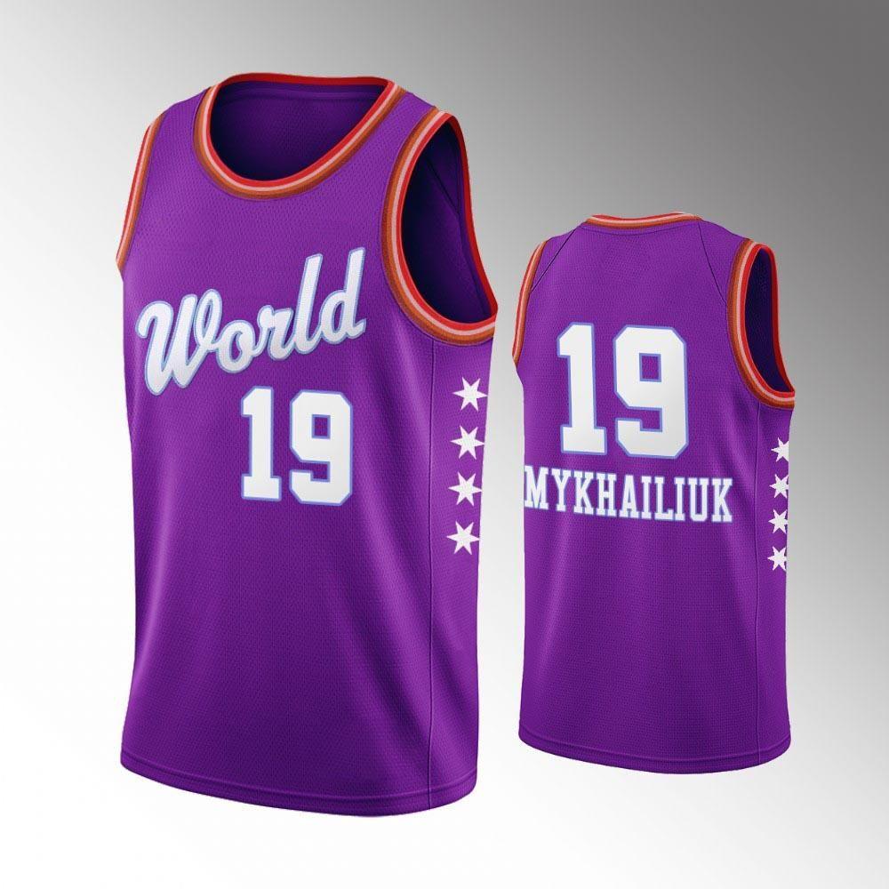 NCAA World Team DetroitPistões.SVI dos homens Mykhailiuk 2020 Estrela crescenteNba roxo jersey.