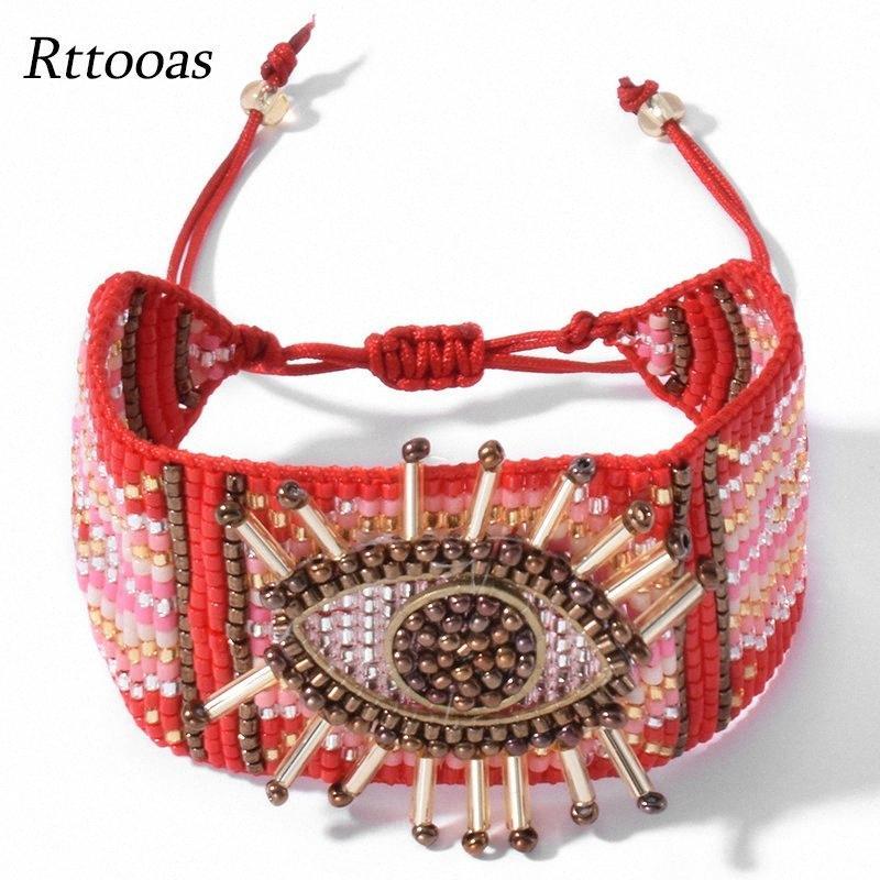 Rttooas rouge turc mauvais oeil Bracelet pour les femmes perles Miyuki Charm Bracelets Bracelets Mujer 2020 Nouveau bijoux de mode # Arrivée cy9W