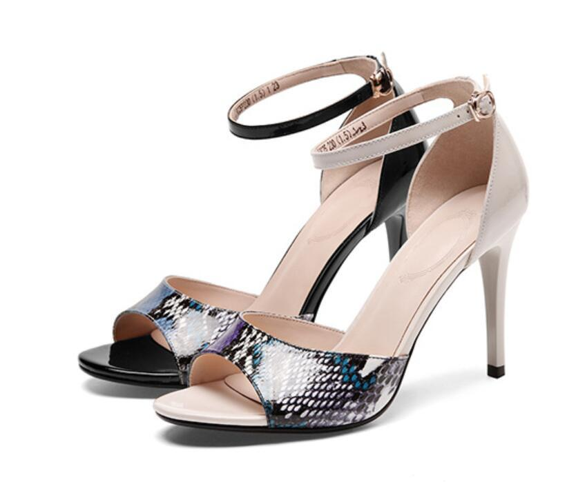 The European American super high heel sandals for spring/Summer 2021 are stylish sexy shoes with fish mouth and a single buckle