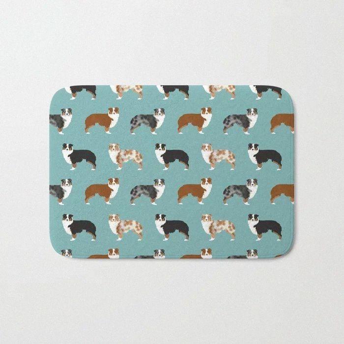HOT Banho Tapetes Australian Shepherd Dog Owners Bath Mat flanela absorventes não deslizamento Capacho Porta de entrada Banheira Quarto Mats 3PI7 #