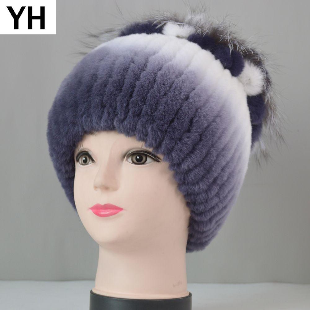 2020 Rusya Kadınlar Örgü Gerçek hakiki Şapka Kış Rex Tavşan Cap Çizgili Kafa üstü Çiçek Fox Kürk Beanies Caps