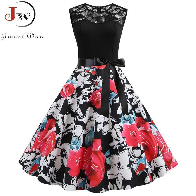 Donna Summer Dress stampa floreale Abito senza maniche in pizzo nero a mosaico Casual Elegante Partito Vintage Vestito estivo Outfits Robe