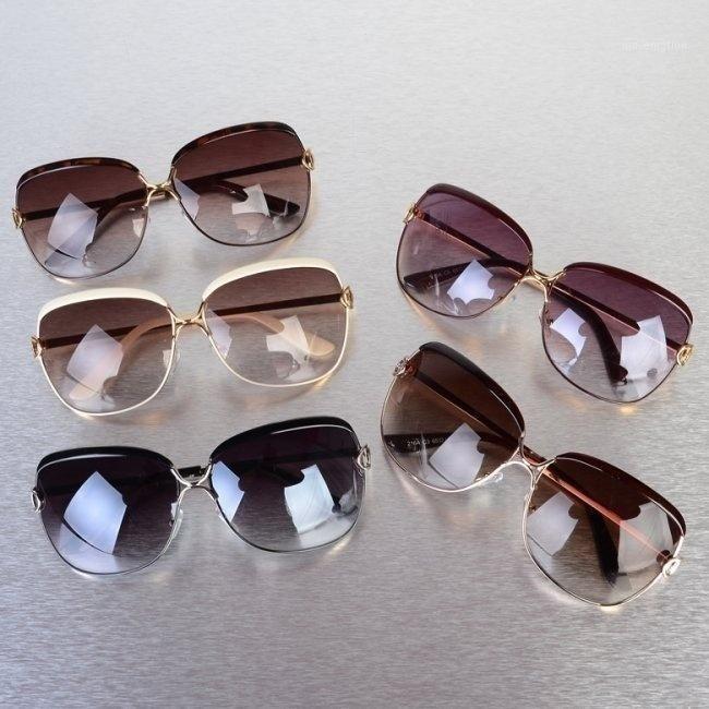 Più nuovo Moda Metallo telaio Eye Donne Donne Quadrato Occhiali da sole Occhiali da sole femminili Occhiali da sole Gambe Leghe Gambe femminili Anti Uva UV TY661