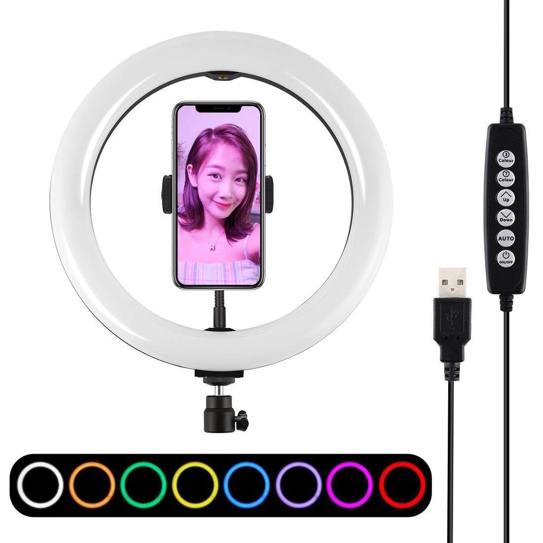 PULUZ 102 بوصة 26cm وUSB 10 وسائط 8 ألوان RGBW عكس الضوء LED الدائري مشاركة في مدونة فيديو أضواء تصوير الفيديو مع حذاء الباردة الكرة ترايبود رئيس الهاتف الكلور
