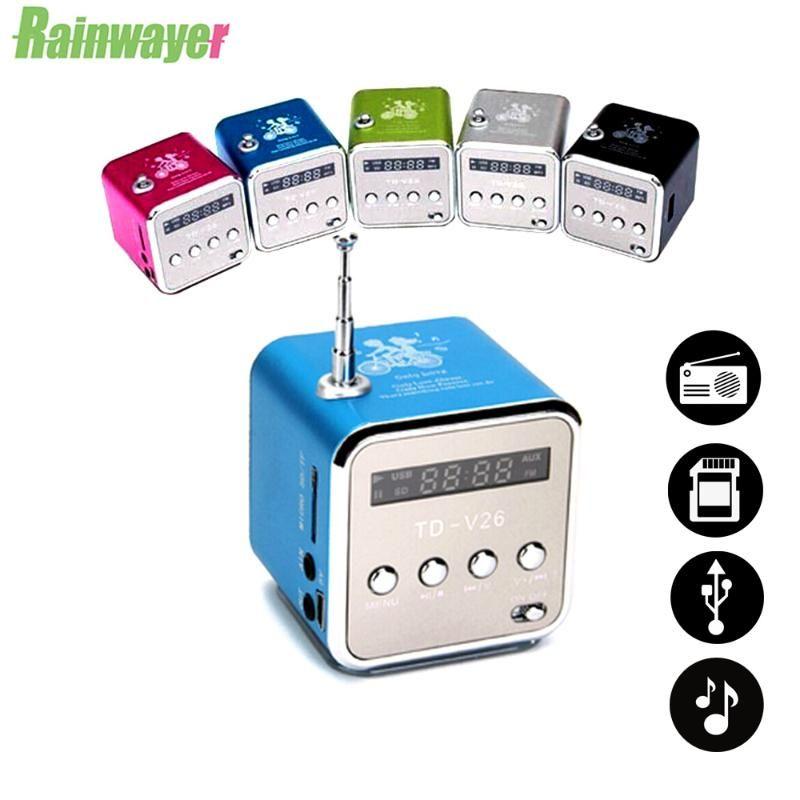 TD-V26 Digital Mini FM Radio Récepteur de haut-parleur avec écran stéréo LCD Support Micro TF Carte MP3 Music Player Lecteur USB Charge