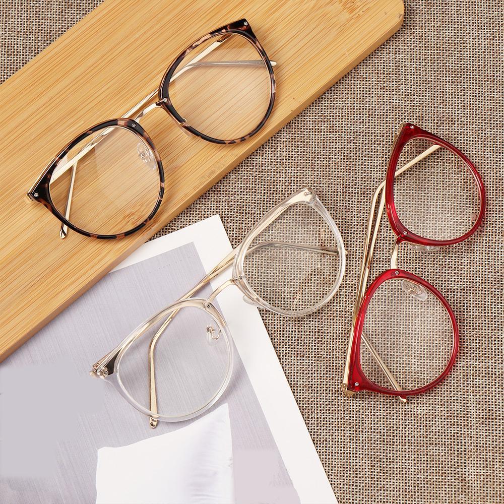 Marco del gato de las mujeres ojo con presbicia gafas de lectura con espejo plano óptico de las lentes de las gafas de la vendimia unisex