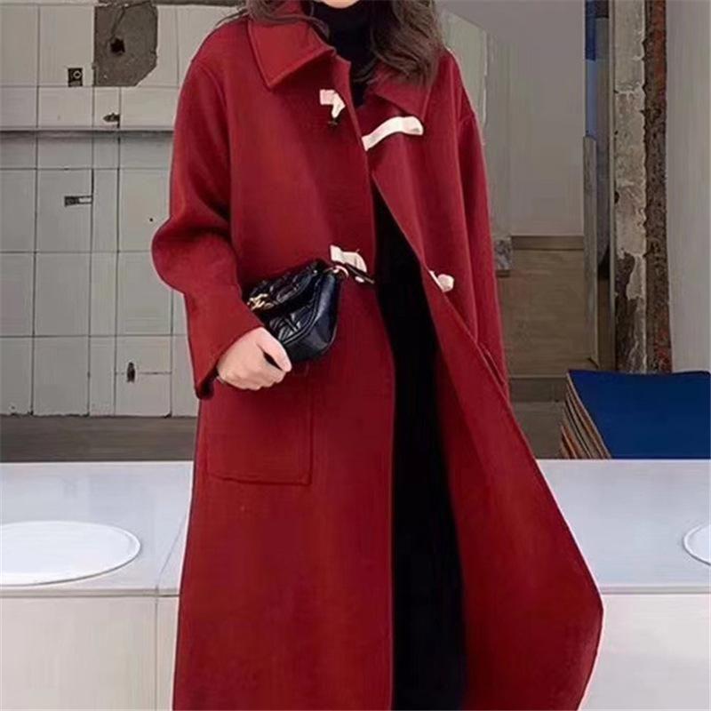 중간 길이 양모 이중 얼굴 코트 여성의 와이드 파인 버튼 모직 코트