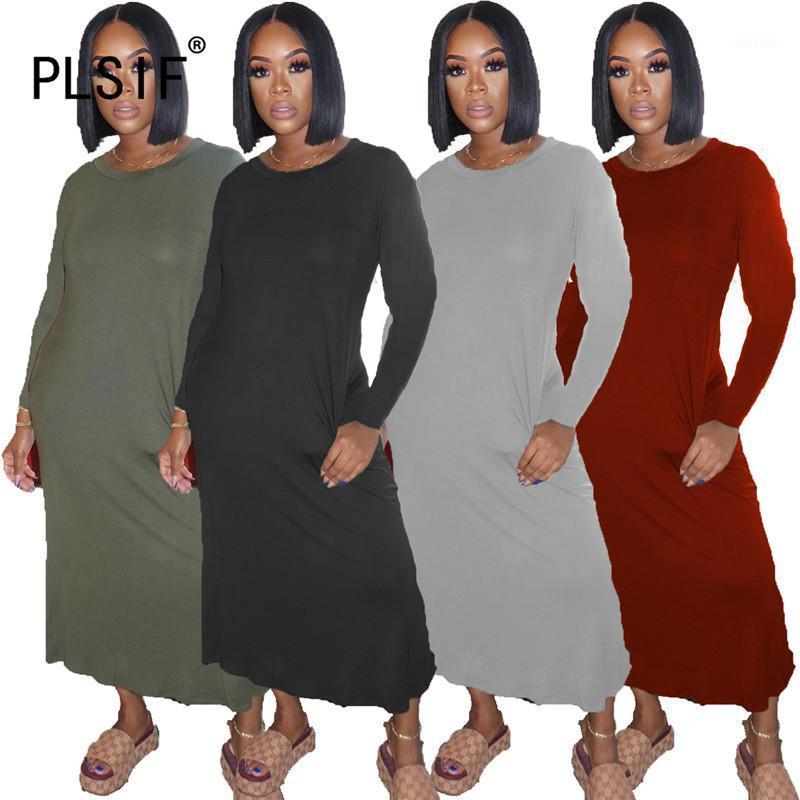 Элегантный темперамент O шеи с длинным рукавом простой чистый цвет тощий платье сексуальный плотный клуб вечеринка леди мода ножнее 1