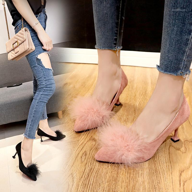 Платье обувь Корейский версия женская тонкий каблук заостренный носок кошачий мех мелкий рот одиночный модный