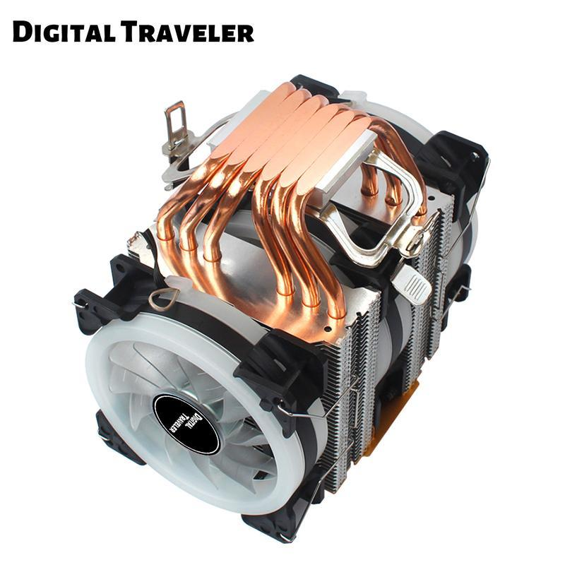 High Quality 6 Heat Pipes CPU Cooler 4 Pin PWM Dual-Tower Cooling 90mm 3 Fan For Intel 1366 2011 X79 X99 Motherboard AM2/AM3/AM4