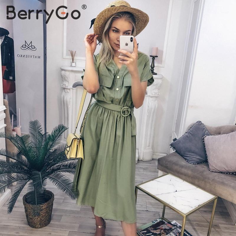 Berrygo Vintage V-Col V - Robe d'été Femmes Casual Streetwear Bureau Dames Poches Dress Robe Boutons élégants Ceinture Midi Vestidos1