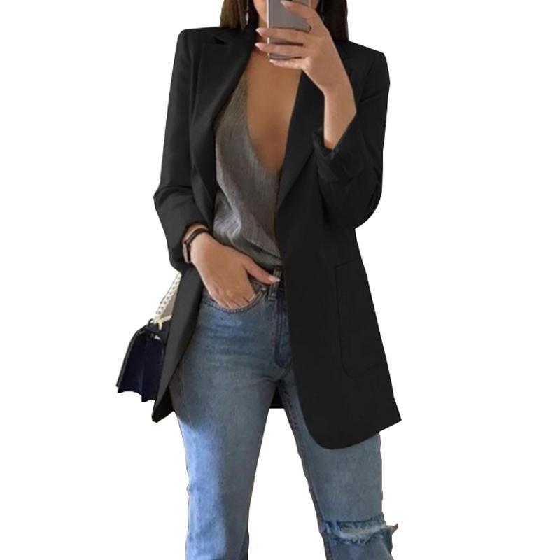 Blazers minces Femmes Automne costume blazers veste femme bureau de travail femme costume noir avec poches business noched blazer manteau 201102