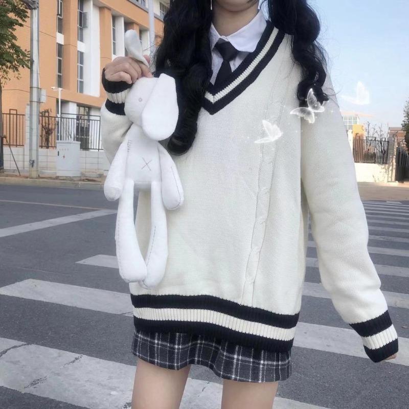 Mulheres soltas v-garganta suéter de manga comprida meninas estudante casual harajuku japonês outono inverno insoleiro tops estilo universitário