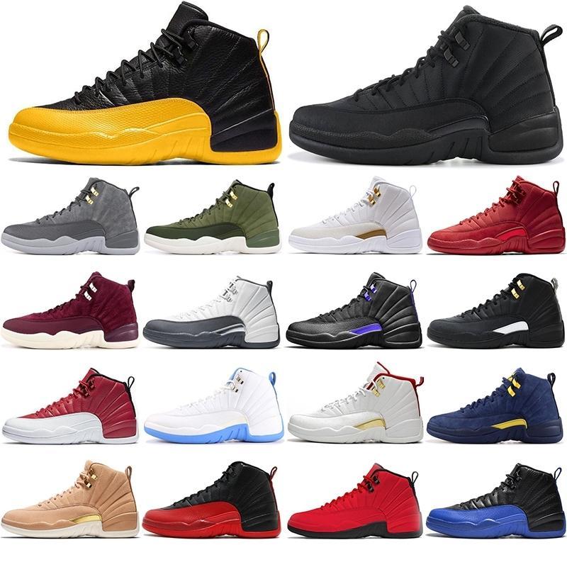 avec des chaussettes libres 12 Pierre Université or bleu foncé Concord inversée Flu Jeu OVO Blanc Hommes Chaussures de basket-ball de 12 ans éliminatoire Français Bleu Sneakers