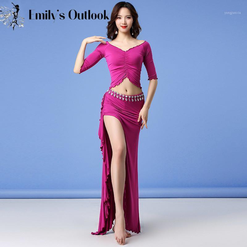 Donne Belly Dance Costume Set 2 pezzi Abiti da competizione Danzatore orientale confortevole Comodo Modal Manica lunga Top Sexy Gonna Show1