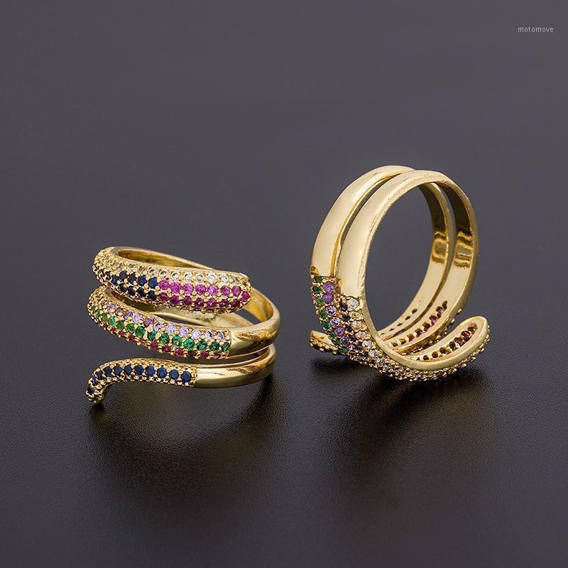 حلقات العنقودية أعلى جودة الذهب اللون متعدد الطبقات للتعديل للنساء النحاس مكعب زركونيا العصرية كومة البنصر حلقة مجوهرات هدايا 1