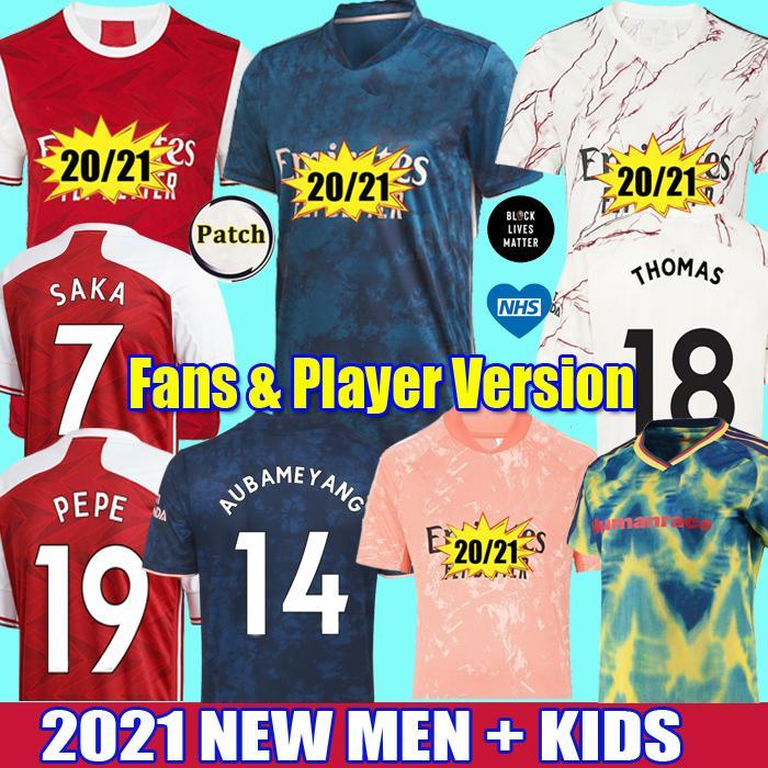 2021 Fans Player aRsEn soccer jersey THOMAS Pepe GABRIEL WILLIAN HUFC Tierney SAKA NICOLAS Gunners football shirts men kids kit uniforms
