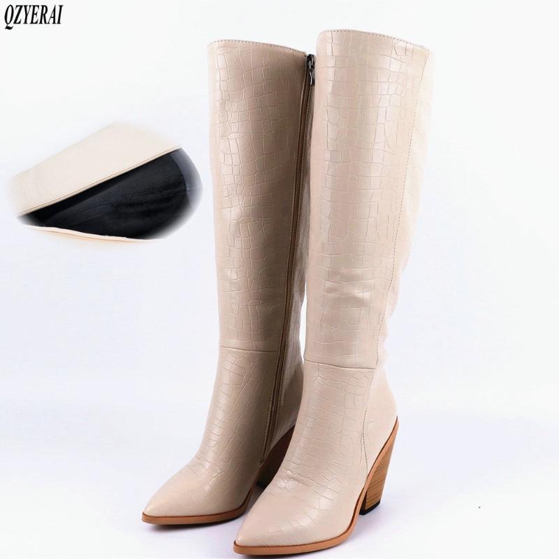 Nuovi pattini delle donne di stile di inverno Gli stivali alti al ginocchio sottolineato stile europeo neve moda femminile stivali donne sexy