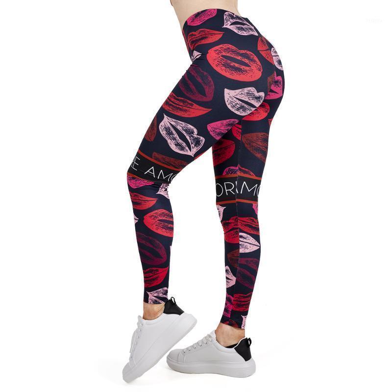 Mujeres Legging Labios Impresión Leggins Slim High Elasticity Legins Popular Fitness Leggings Pantalones femeninos # 31