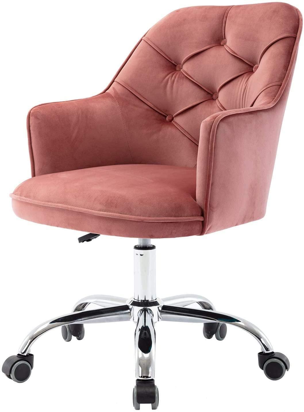 Velvet Accent Chair, Sala giratória Shell cadeiras de veludo mesa de escritório Chair adornado Vanity cadeira moderna com Rodas para o Office Bedroom