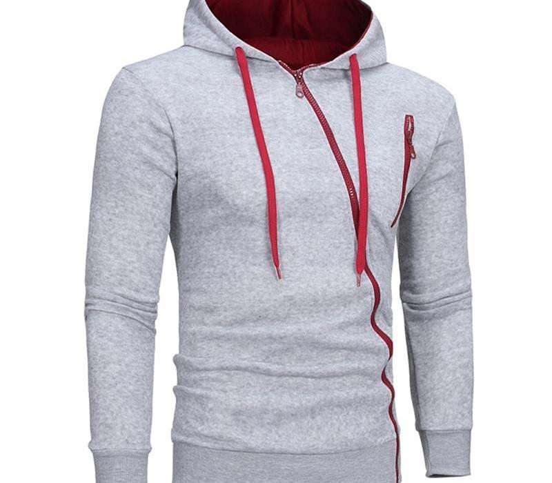 Hoodies Men Casual manches longues Sweat-shirt à cordonnet solide Homme Zipper Slim Plus Size Survêtement Sweats à capuche