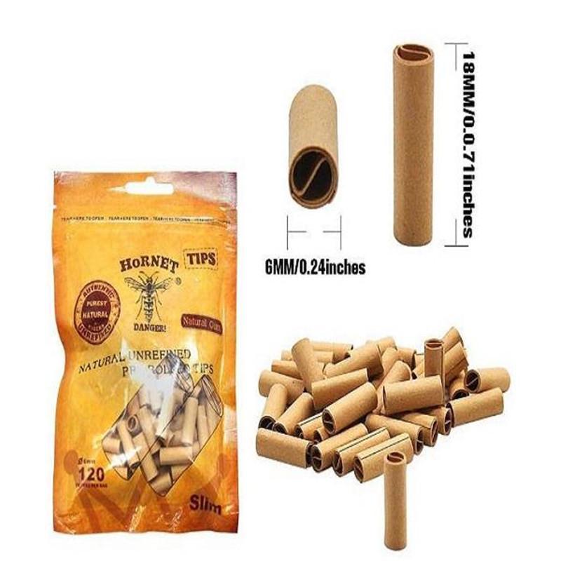 120pcs / 가방 6mm 담배 종이 호넷 실용 사전 압연 천연 비 정제 담배 필터 롤링 종이 팁 DHL 무료