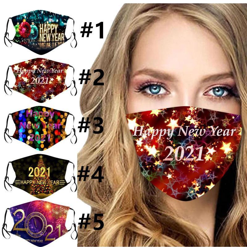 Женщины Мужчины Дети маска 2021 Happy New Year печати Маски Мода Моющиеся взрослых могут быть вставлены с фильтром маски для лица 5 цветов E110904