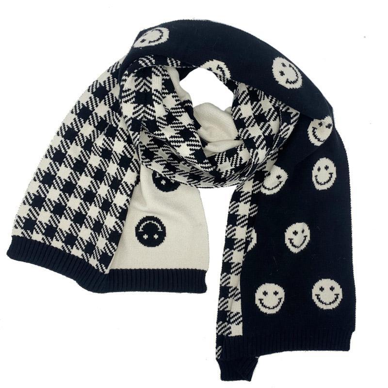 2021 Moda sonriente cara bufanda invierno mantén bufanda cálida Pashmina Bufandas para las mujeres China Accesorios de estilo de estilo simple encantador para hombre