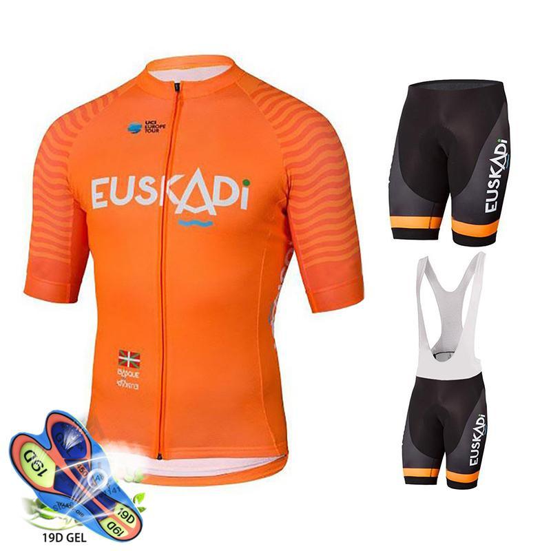 2020 Vêtements de cyclisme Pro Team Euskadi Orange Jersey Cyclisme Jersey Breaks Suit Ropa Ciclismo Hommes Vélo rapide Maillot Porter C0123