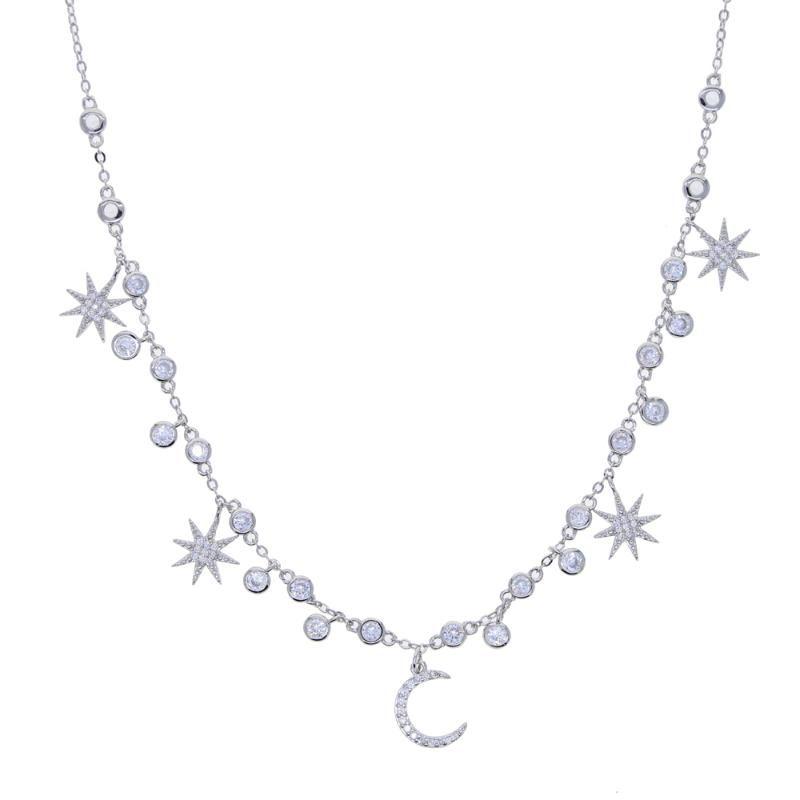 Nuevo llegó estrella geométrica encanto starburst collares gargantilla europeas para micro moda mujer niña allanan joyería de la boda claro CZ