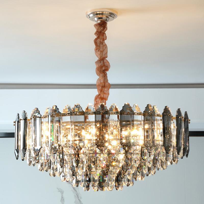 거실 용 럭셔리 현대 크리스탈 샹들리에 대형 라운드 체인 조명기구 침실 식당 장식 LED 크리스털 램프