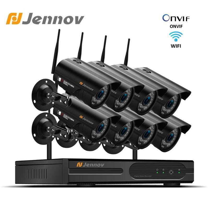 أنظمة جينوف 1080P نظام كاميرا أمن الوطن NVR WIFI Wireless 8CH 2MP مراقبة الفيديو CCTV كيت IP66 في الهواء الطلق P2P