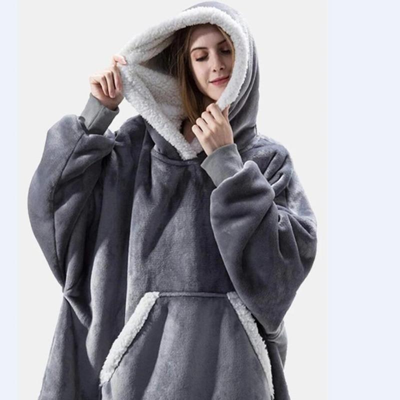 Damen Hoodies Sweatshirts Dicke warme frauen Übergroßen Pyjamas Flanell Mann Schlaf Tops Decke Komfortable Soft Robe Homewear Plus Size Cou